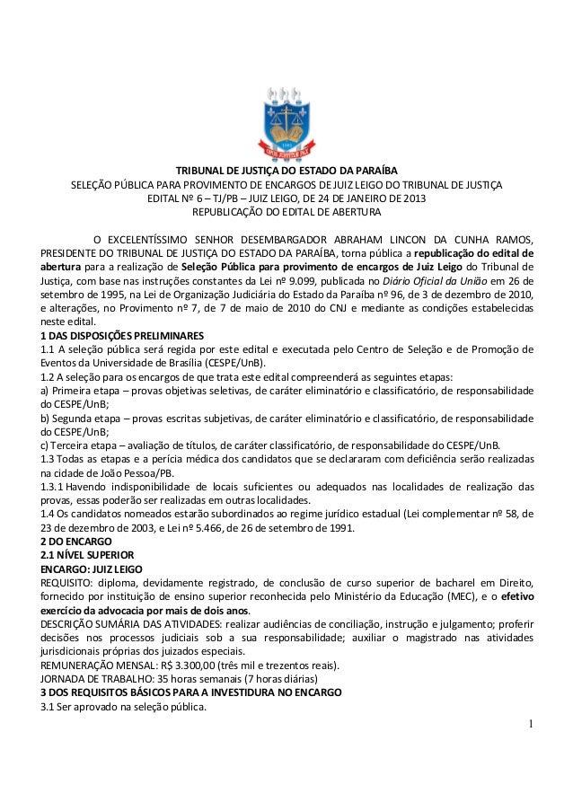 1 TRIBUNAL DE JUSTIÇA DO ESTADO DA PARAÍBA SELEÇÃO PÚBLICA PARA PROVIMENTO DE ENCARGOS DE JUIZ LEIGO DO TRIBUNAL DE JUSTIÇ...