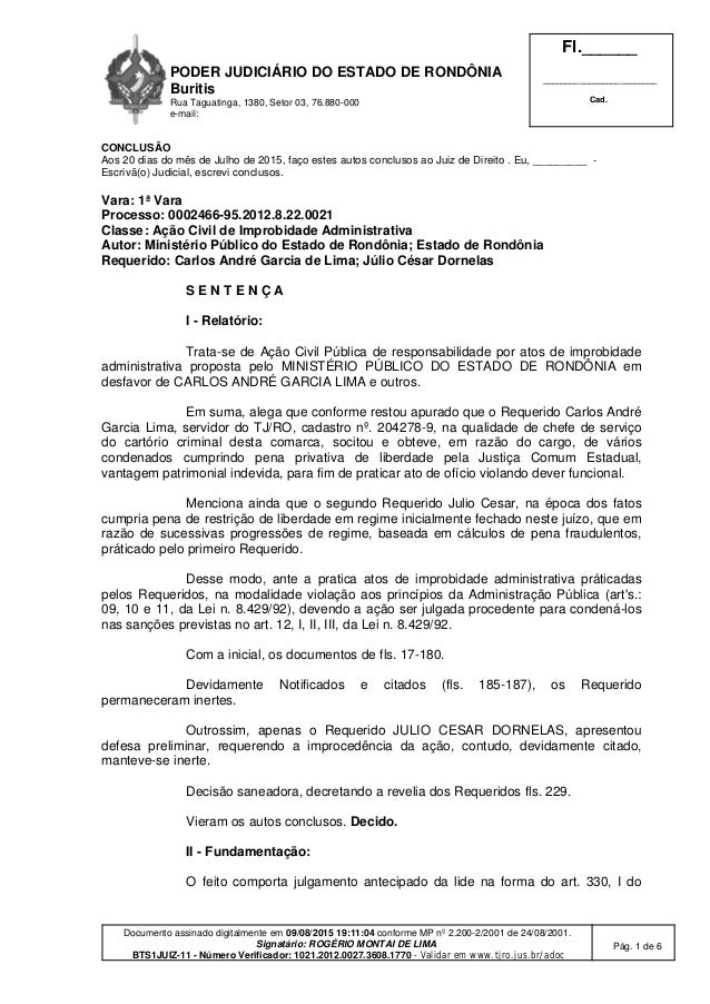 PODER JUDICIÁRIO DO ESTADO DE RONDÔNIA Buritis Rua Taguatinga, 1380, Setor 03, 76.880-000 e-mail: Fl.______ ______________...