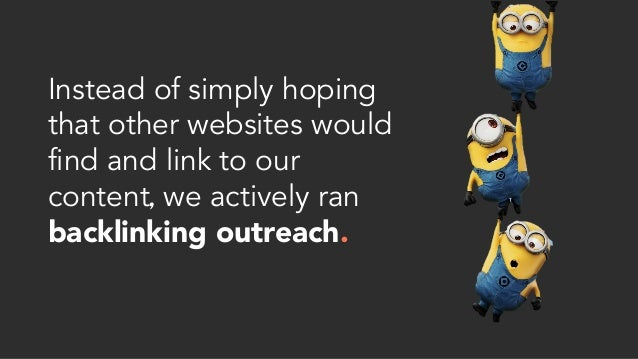 Instead of simply hoping that other websites would find and link to our content, we actively ran backlinking outreach.