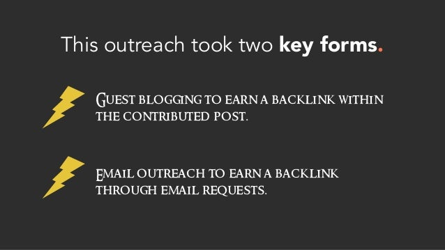 This outreach took two key forms. Guest blogging to earn a backlink within the contributed post. Email outreach to earn a ...