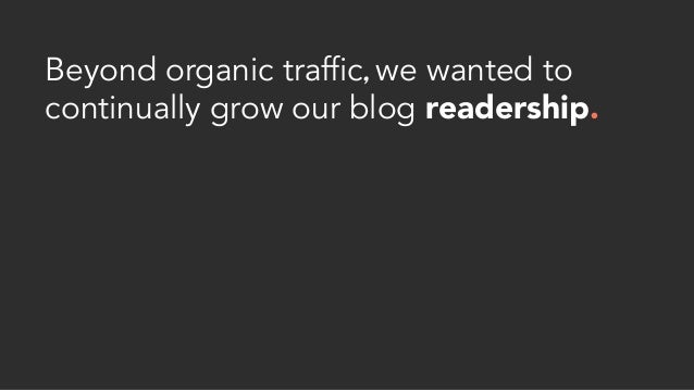 Beyond organic traffic, we wanted to continually grow our blog readership.
