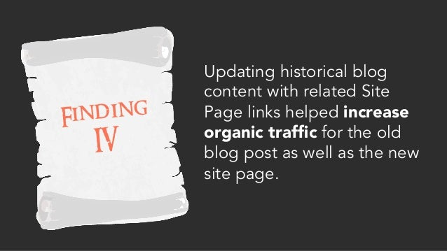 Updating historical blog content with related Site Page links helped increase organic traffic for the old blog post as well...