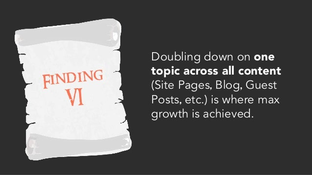 Finding VI Doubling down on one topic across all content (Site Pages, Blog, Guest Posts, etc.) is where max growth is achi...