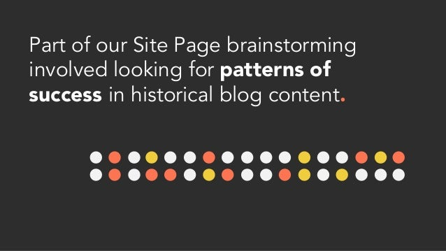 Part of our Site Page brainstorming involved looking for patterns of success in historical blog content.