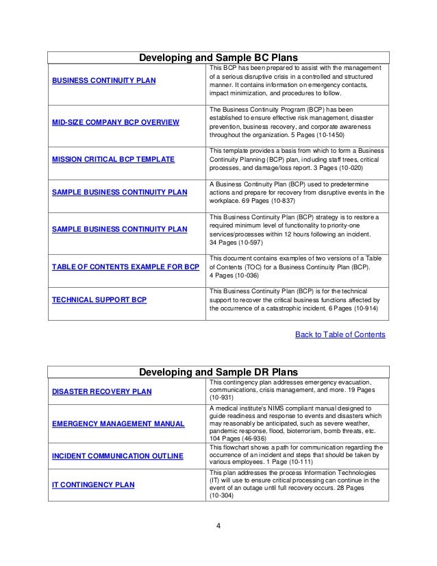 Sample business continuity plan design templates 4 developing and sample bc plans business continuity flashek Images