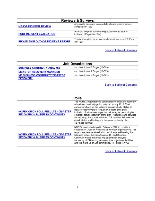 ... Contents; 7.  Business Continuity Templates