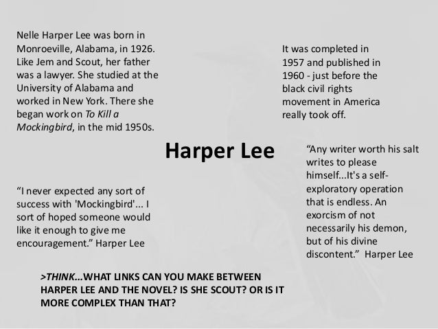 a biography of harper lee and the success of her novel to kill a mockingbird O n february 19, nelle harper lee, author of the classic novel to kill a mockingbird, died in her hometown of monroeville, alabama, at the age of 89the evening before, i'd finished reading mockingbird: a portrait of harper lee, by local author and biographer charles shields.