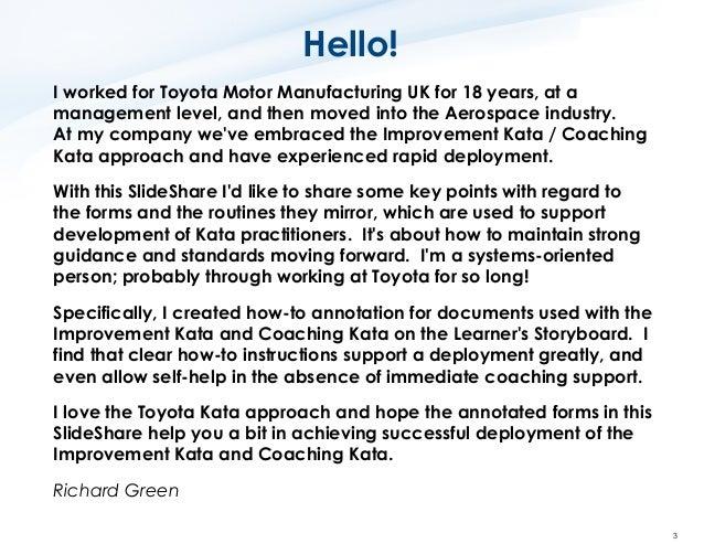 Toyota Kata How to Use the Key Improvement Kata Forms Slide 3