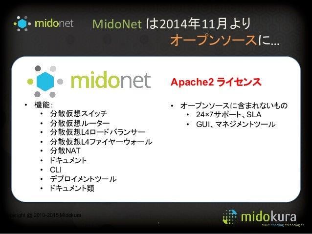 MidoNet  は2014年11月より                 オープンソースに… 1   Copyright @ 2010-2015 Midokura • 機能: • 分散仮想スイッチ • 分...