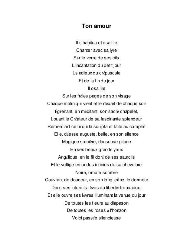 Ton Amour Poème Traduit De Larabe
