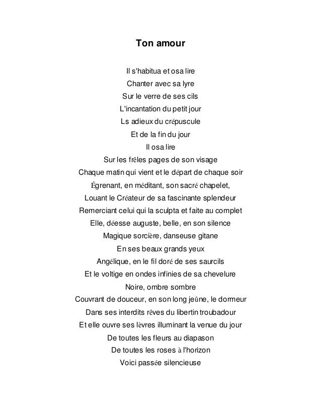 ton amour po u00e8me traduit de l u0026 39 arabe