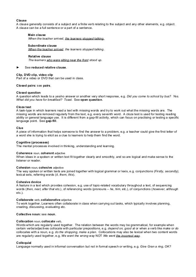 tkt glossary Recurso educativo: tkt glossary inglés verónica silva useful terms related  with tkt test.