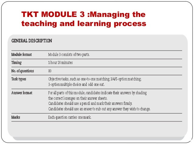 tkt module 3 test sample Information about how to prepare for tkt (teaching knowledge test), including links to official preparation materials tkt sample test module 1 tkt sample test module 1.