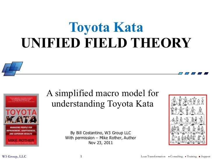 Toyota Kata UNIFIED FIELD THEORY A simplified macro model for understanding Toyota Kata By Bill Costantino, W3 Group LLC W...