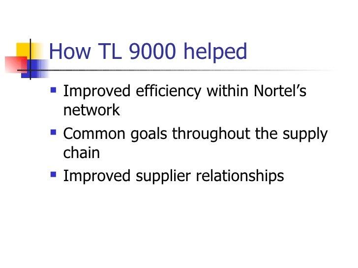 How TL 9000 helped <ul><li>Improved efficiency within Nortel's network </li></ul><ul><li>Common goals throughout the suppl...