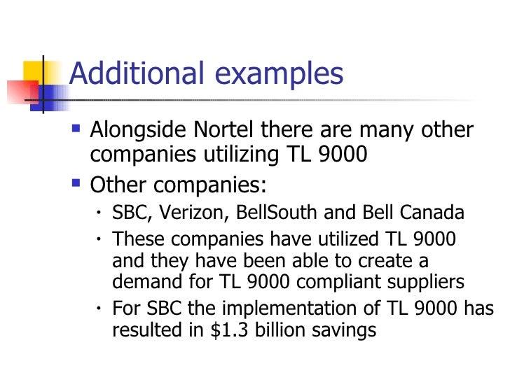 Additional examples <ul><li>Alongside Nortel there are many other companies utilizing TL 9000 </li></ul><ul><li>Other comp...