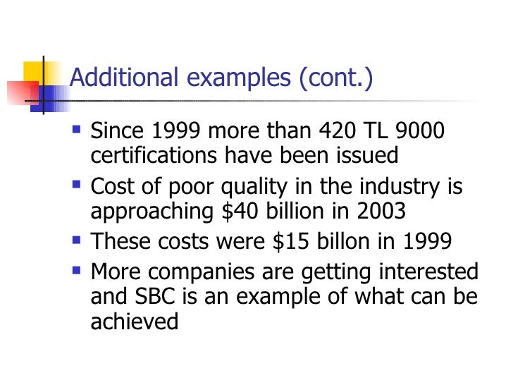 Additional examples (cont.) <ul><li>Since 1999 more than 420 TL 9000 certifications have been issued </li></ul><ul><li>Cos...