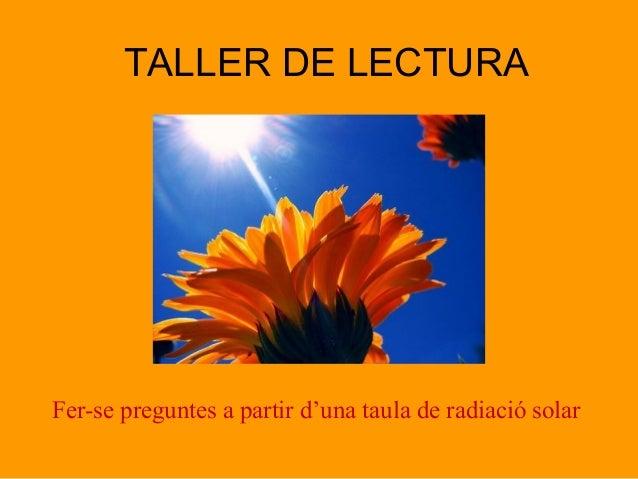 TALLER DE LECTURA Fer-se preguntes a partir d'una taula de radiació solar