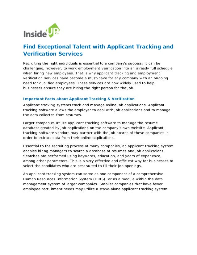 find exceptional talent with applicant tracking and verification serv