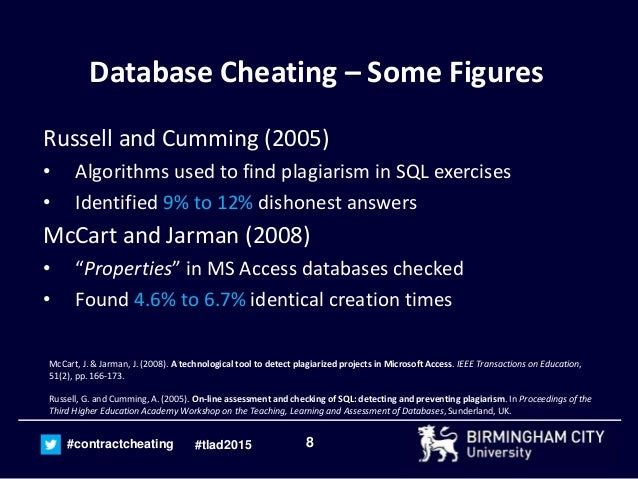 the implications of plagiarism and contract cheating for the assessme  the implications of plagiarism and contract cheating for the assessment of database modules teaching learning and assessment of databases 2015