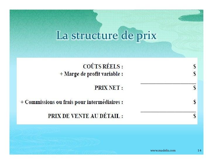 La structure de prix                       www.madelis.com   14