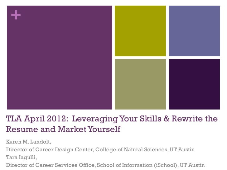 +TLA April 2012: Leveraging Your Skills & Rewrite theResume and Market YourselfKaren M. Landolt,Director of Career Design ...