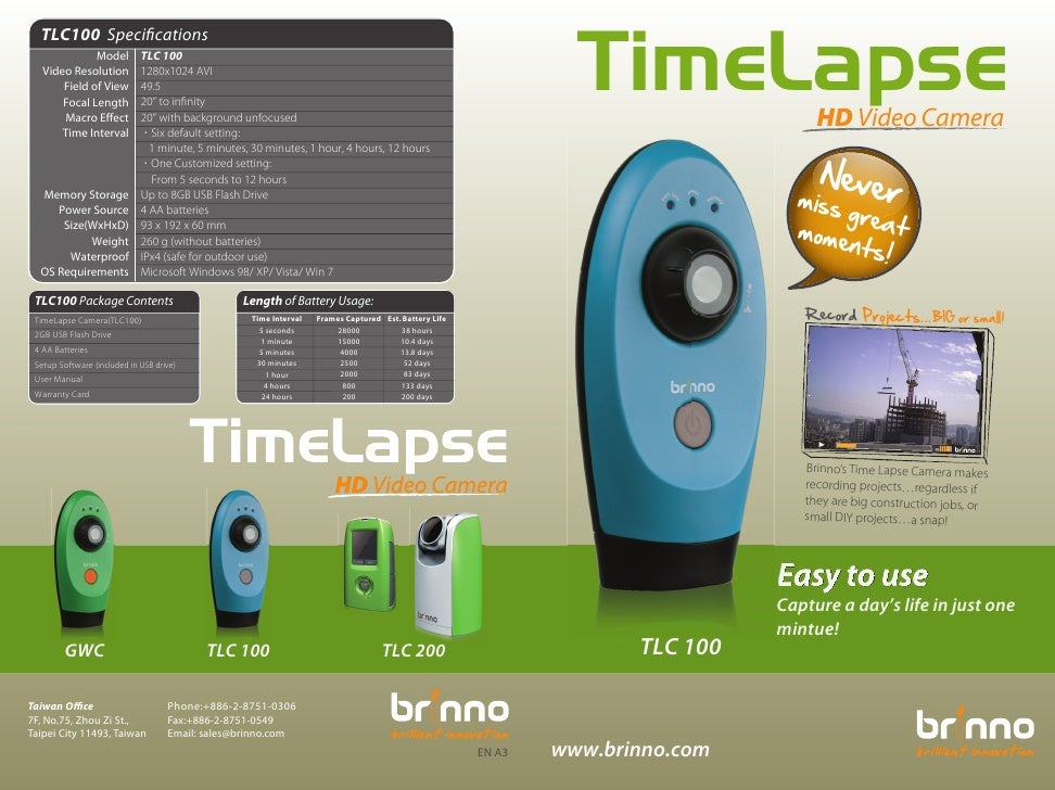 Brinno TimeLapse Camera TLC100- Brochure