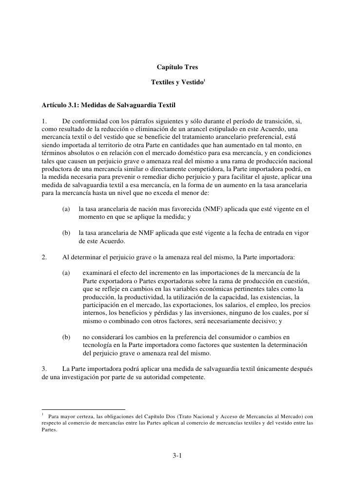 Capítulo Tres                                               Textiles y Vestido1Artículo 3.1: Medidas de Salvaguardia Texti...