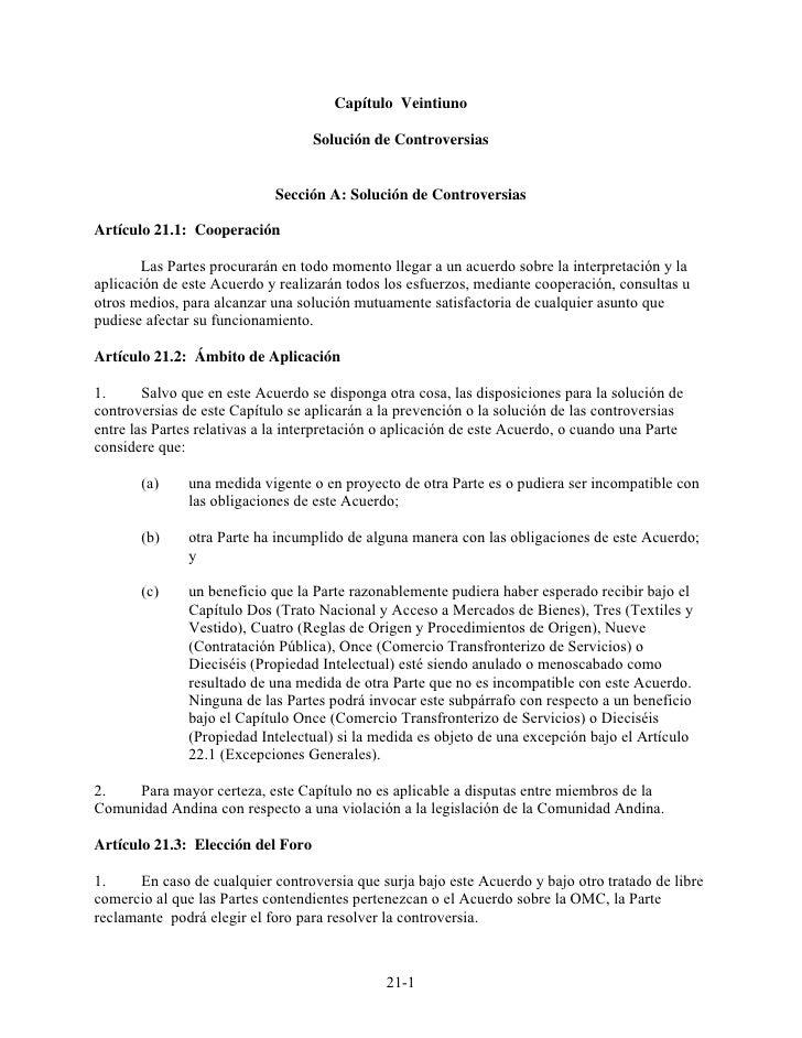 Capítulo Veintiuno                                   Solución de Controversias                             Sección A: Solu...