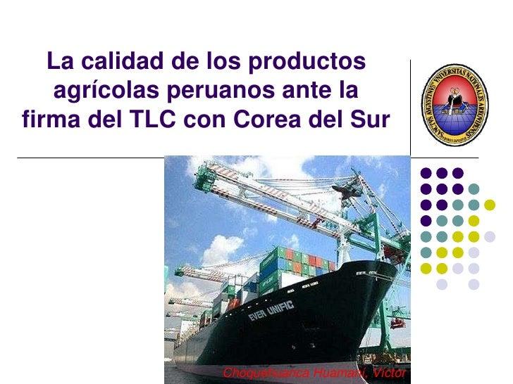 La calidad de los productos agrícolas peruanos ante la firma del TLC con Corea del Sur<br />ChoquehuancaHuamaní, Víctor<br />