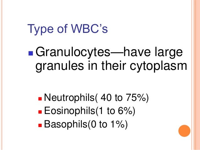 Type of WBC's  Granulocytes—have large granules in their cytoplasm  Neutrophils( 40 to 75%)  Eosinophils(1 to 6%)  Bas...