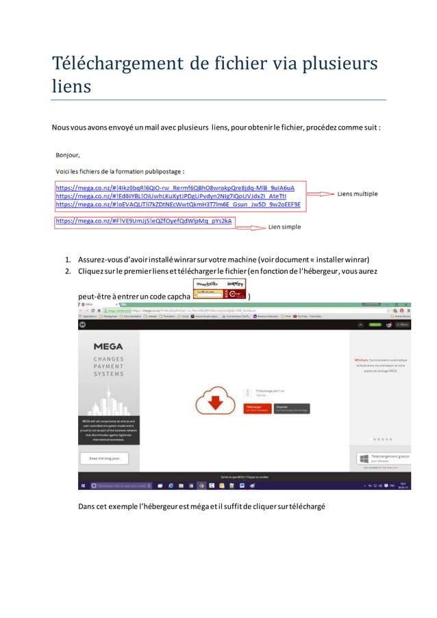 Téléchargémént dé fichiér via plusiéurs liéns Nousvousavonsenvoyé unmail avec plusieurs liens,pourobtenirle fichier,procéd...