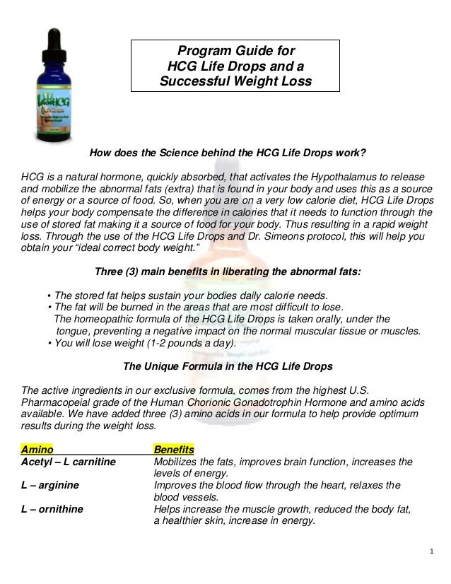 Total Life Changes HCG Life Drops Program Guide and FAQ