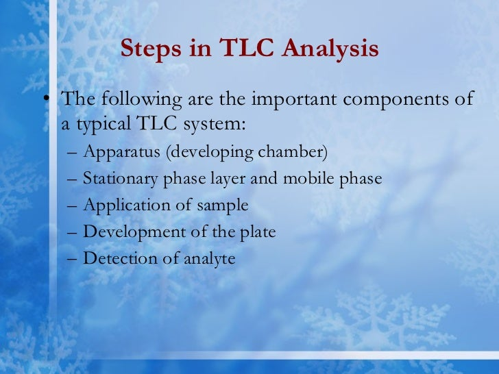 tlc analysis Learn about how chemicals can be separated based on polarity through thin layer chromatography (tlc) by angela guerrero.