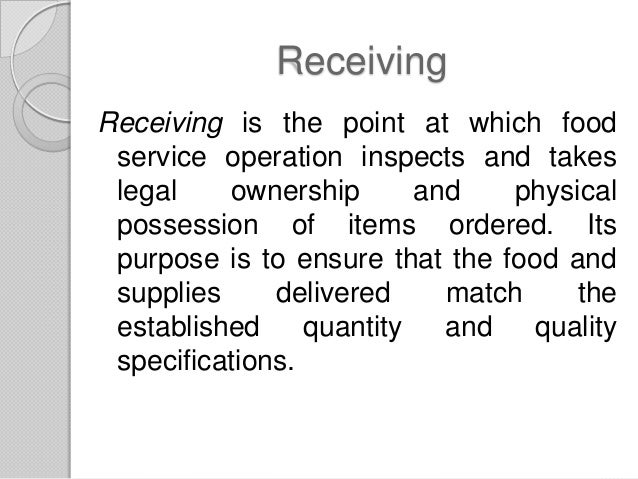 purchasing receiving and storing food
