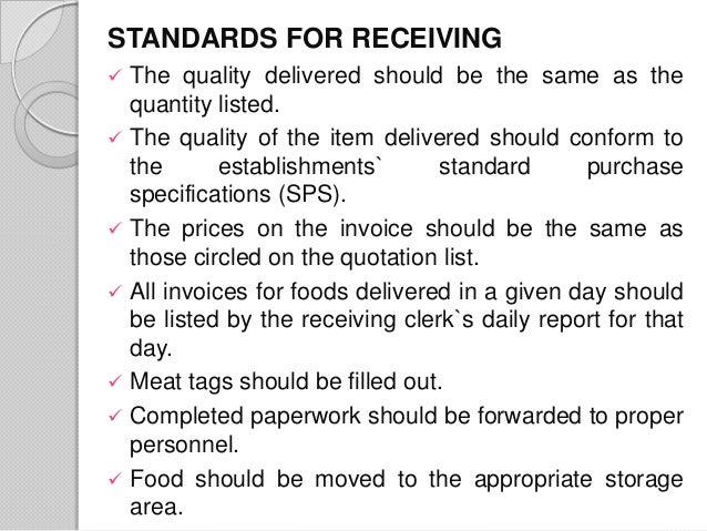 Food Service Receiving Procedures