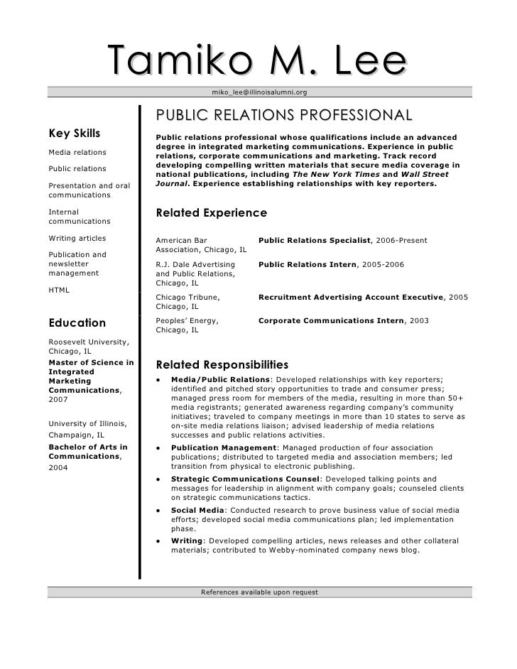 tamiko lee s resume - Sample Public Relations Manager Resume