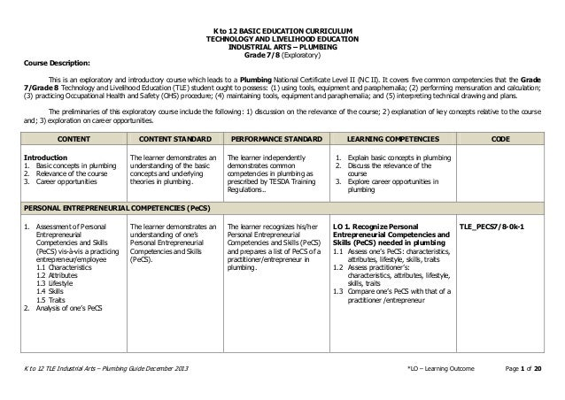 K to 12 BASIC EDUCATION CURRICULUM TECHNOLOGY AND LIVELIHOOD EDUCATION INDUSTRIAL ARTS – PLUMBING K to 12 TLE Industrial A...