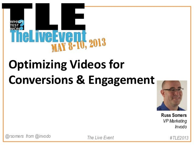 Optimizing Videos forConversions & EngagementRuss SomersVP MarketingInvodo#TLE2013The Live Event@rsomers from @invodo