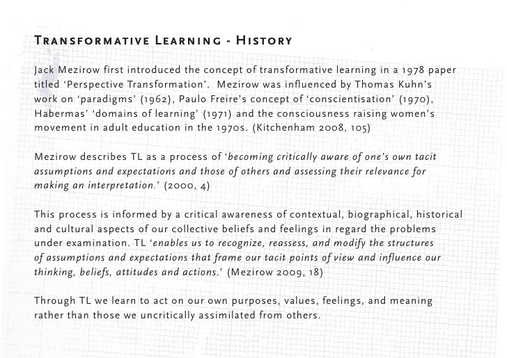Transformative Learning Theory (TLT)        Simplified -          1. critical reflection          2. reflective discourse ...