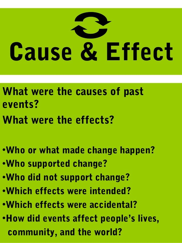 Cause & EffectWhat were the causes of pastevents?What were the effects?•Who or what made change happen?•Who supported chan...