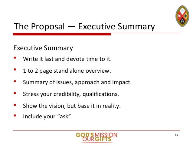 41 42 the proposal executive summary