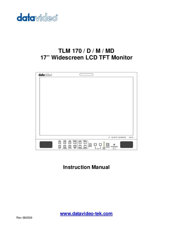 """TLM 170 / D / M / MD             17"""" Widescreen LCD TFT Monitor                    Instruction Manual                   ww..."""