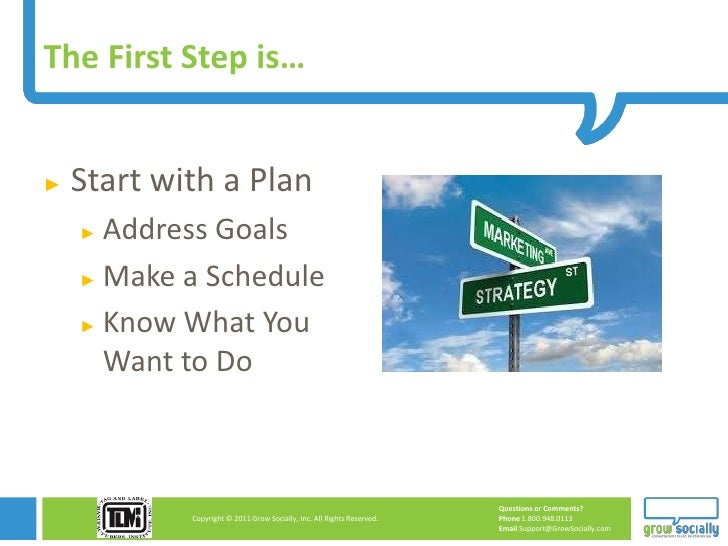 The First Step is…►   Start with a Plan    ► Address Goals    ► Make a Schedule    ► Know What You      Want to Do        ...