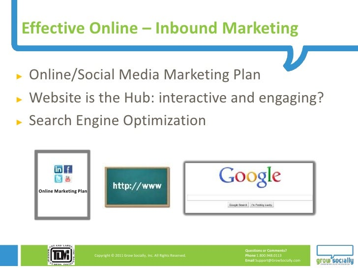 Effective Online – Inbound Marketing►   Online/Social Media Marketing Plan►   Website is the Hub: interactive and engaging...