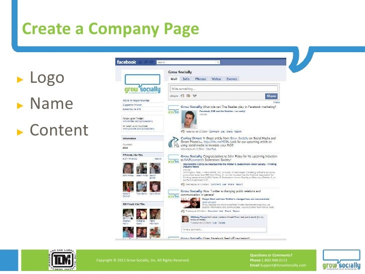 Create a Company Page► Logo► Name► Content                                                                        Question...