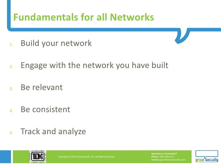 Fundamentals for all Networks1.    Build your network2.    Engage with the network you have built3.    Be relevant4.    Be...