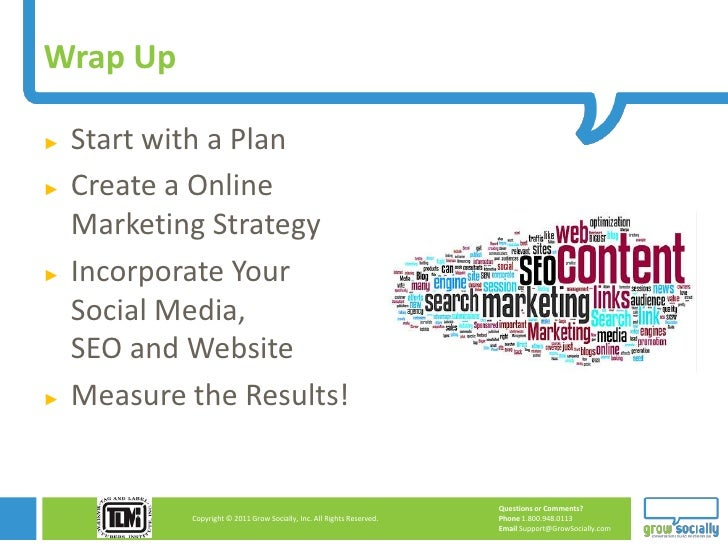 Wrap Up►   Start with a Plan►   Create a Online    Marketing Strategy►   Incorporate Your    Social Media,    SEO and Webs...
