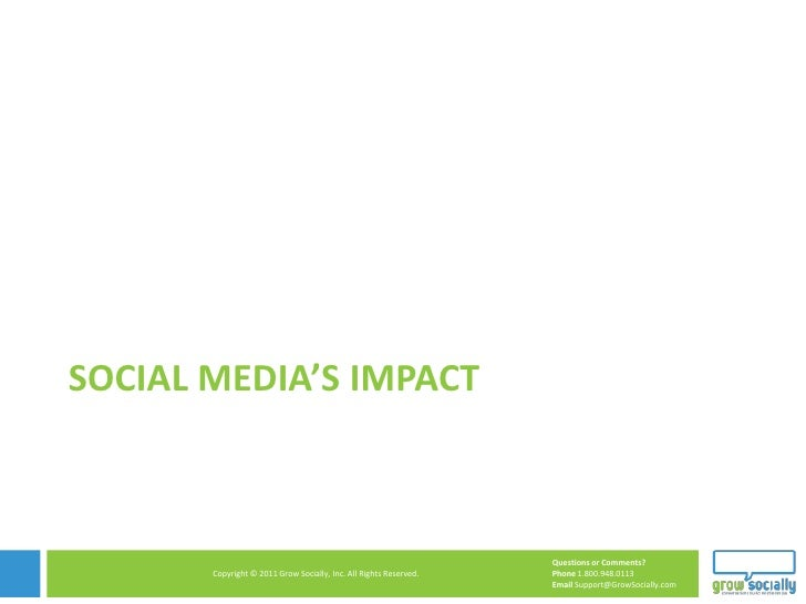 SOCIAL MEDIA'S IMPACT                                                                   Questions or Comments?       Copyr...
