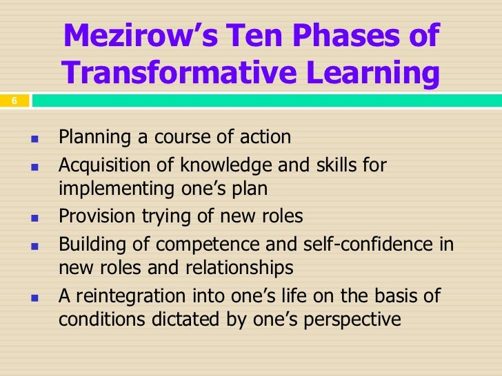 Jack mezirow seven phases transformational change theory